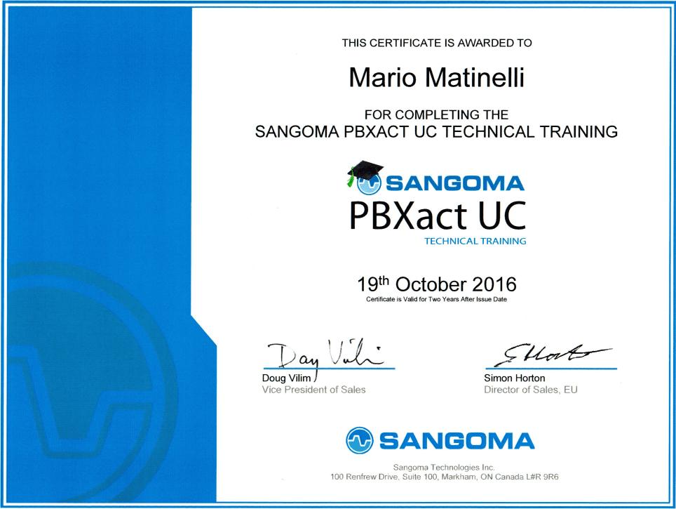PBXACT UC Certificate