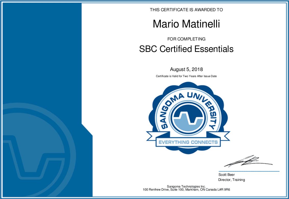 Sangoma SBC Certificate